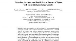 Detection, Analysis, and Prediction of Research Topics with Scientific Knowledge Graphs